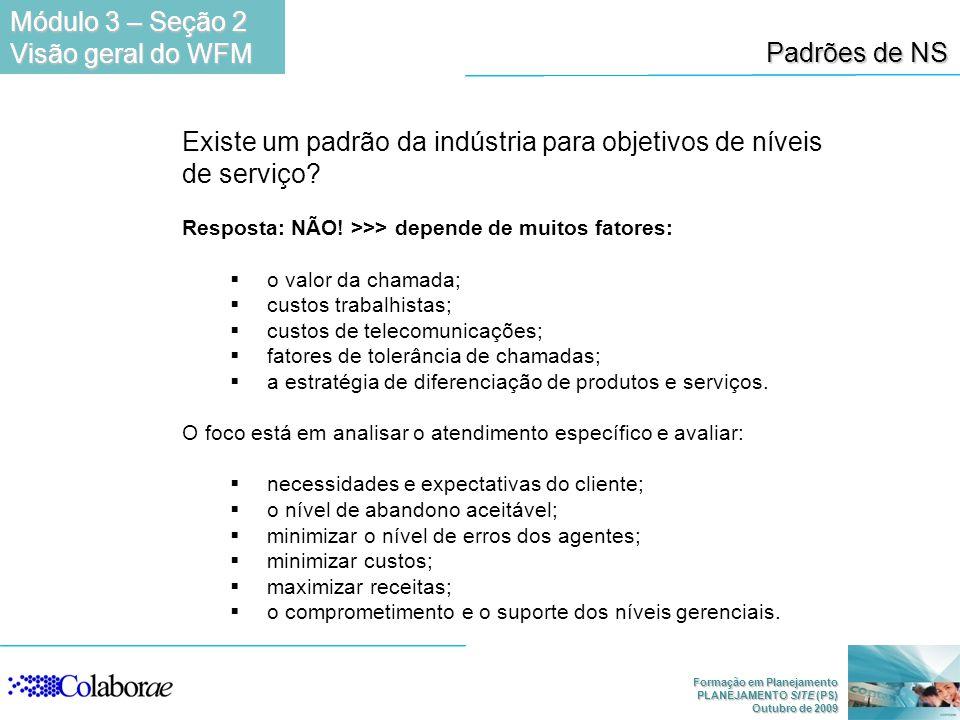 Formação em Planejamento PLANEJAMENTO SITE (PS) Outubro de 2009 Padrões de NS Existe um padrão da indústria para objetivos de níveis de serviço? Respo