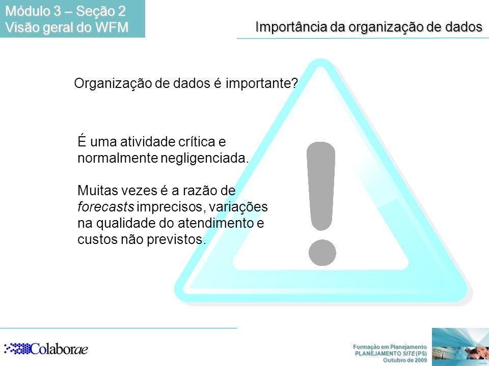 Formação em Planejamento PLANEJAMENTO SITE (PS) Outubro de 2009 Importância da organização de dados Organização de dados é importante? É uma atividade