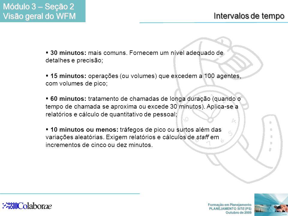 Formação em Planejamento PLANEJAMENTO SITE (PS) Outubro de 2009 Intervalos de tempo 30 minutos: mais comuns. Fornecem um nível adequado de detalhes e