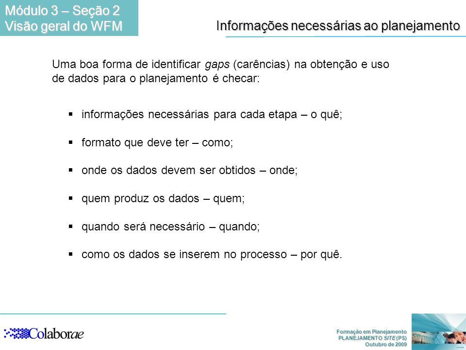 Formação em Planejamento PLANEJAMENTO SITE (PS) Outubro de 2009 Informações necessárias ao planejamento informações necessárias para cada etapa – o qu