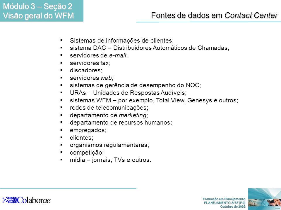 Formação em Planejamento PLANEJAMENTO SITE (PS) Outubro de 2009 Fontes de dados em Contact Center Sistemas de informações de clientes; sistema DAC – D