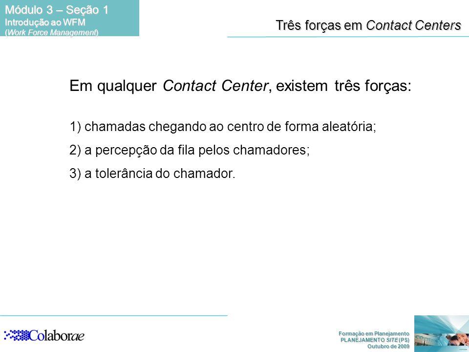 Formação em Planejamento PLANEJAMENTO SITE (PS) Outubro de 2009 Em qualquer Contact Center, existem três forças: 1) chamadas chegando ao centro de for