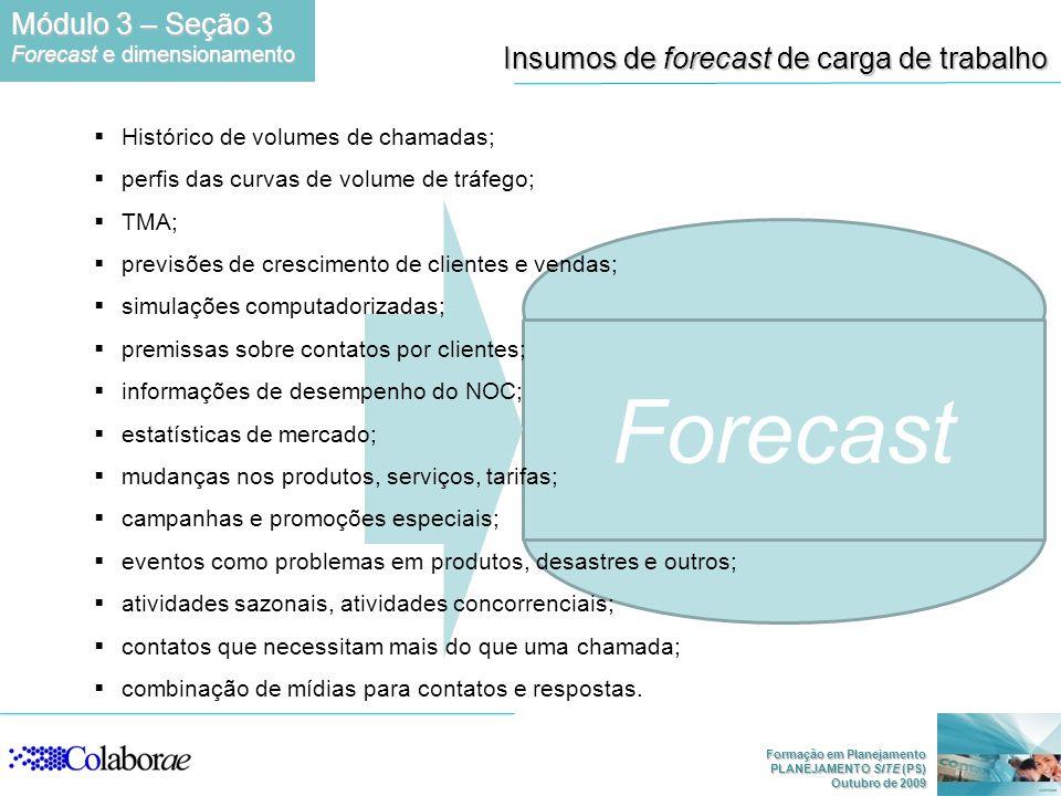 Formação em Planejamento PLANEJAMENTO SITE (PS) Outubro de 2009 Forecast Insumos de forecast de carga de trabalho Histórico de volumes de chamadas; pe