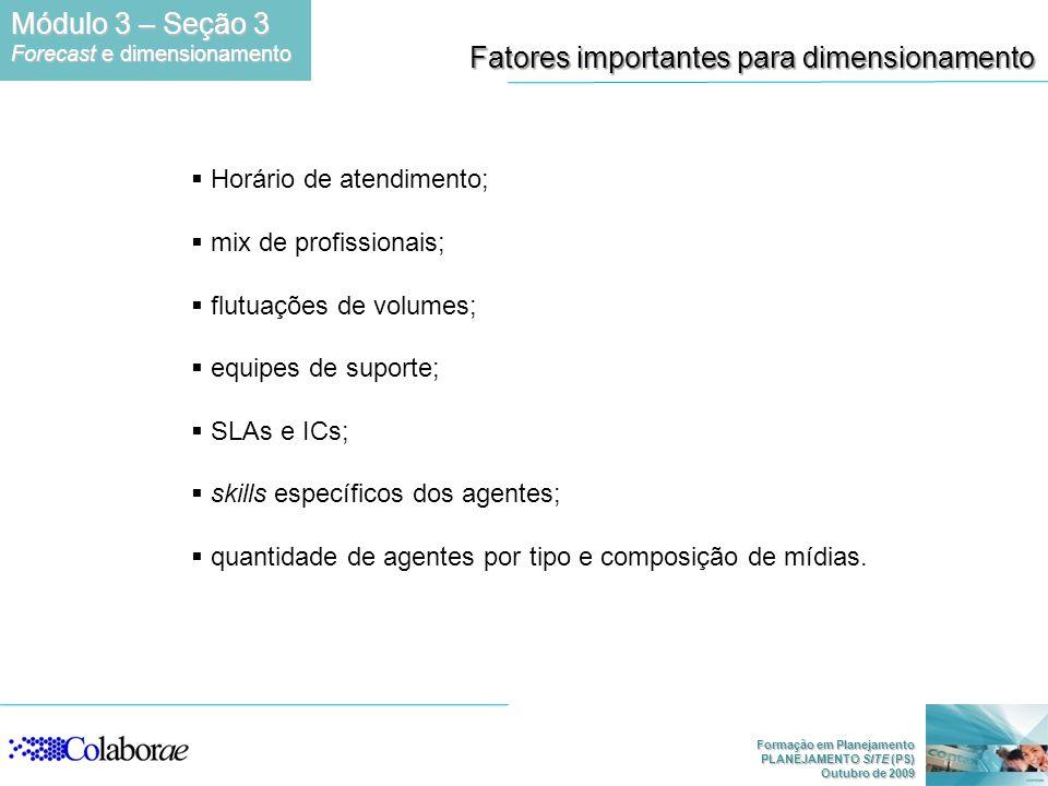 Formação em Planejamento PLANEJAMENTO SITE (PS) Outubro de 2009 Fatores importantes para dimensionamento Horário de atendimento; mix de profissionais;