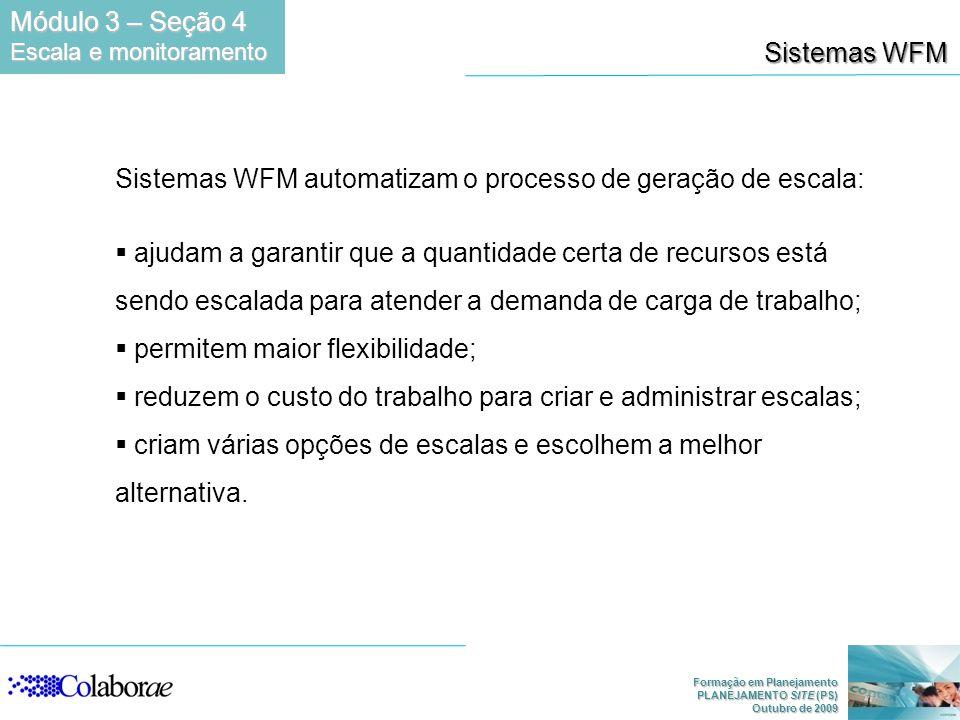 Formação em Planejamento PLANEJAMENTO SITE (PS) Outubro de 2009 Sistemas WFM Sistemas WFM automatizam o processo de geração de escala: ajudam a garant
