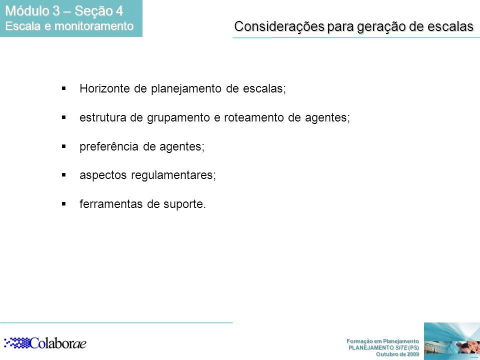 Formação em Planejamento PLANEJAMENTO SITE (PS) Outubro de 2009 Considerações para geração de escalas Horizonte de planejamento de escalas; estrutura