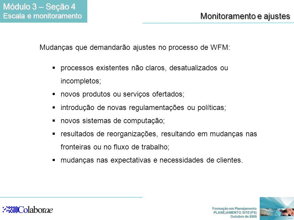 Formação em Planejamento PLANEJAMENTO SITE (PS) Outubro de 2009 Monitoramento e ajustes Mudanças que demandarão ajustes no processo de WFM: processos