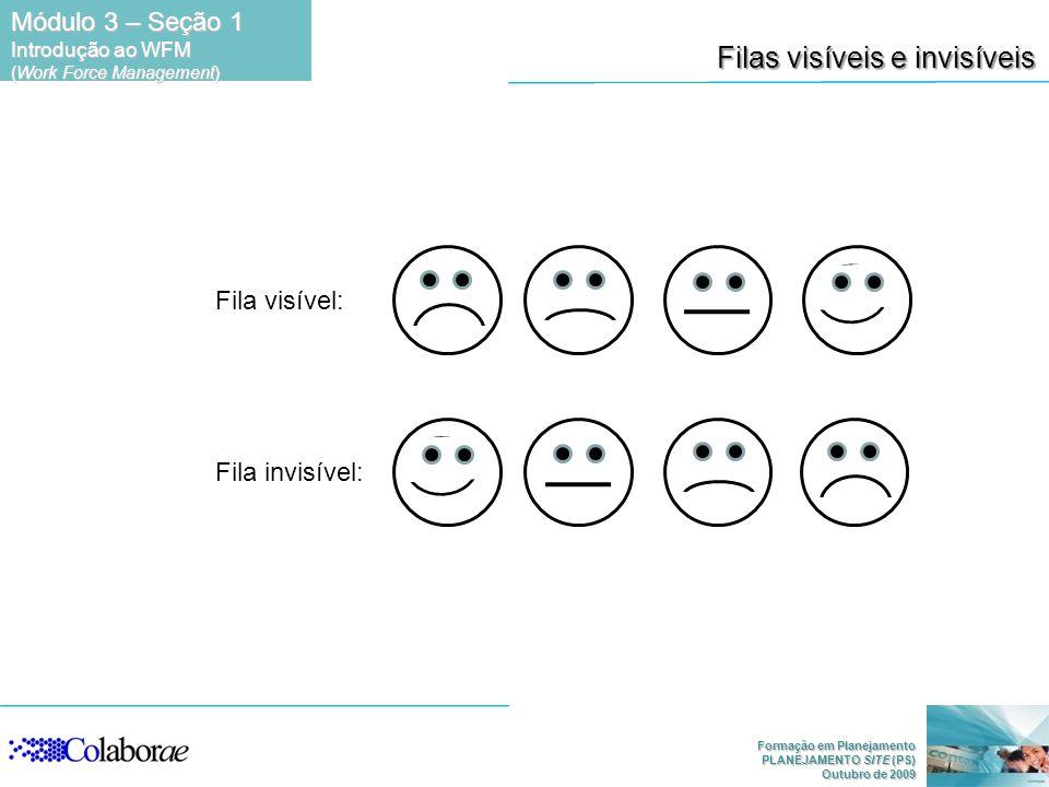 Formação em Planejamento PLANEJAMENTO SITE (PS) Outubro de 2009 Filas visíveis e invisíveis Fila visível: Fila invisível: Módulo 3 – Seção 1 Introduçã