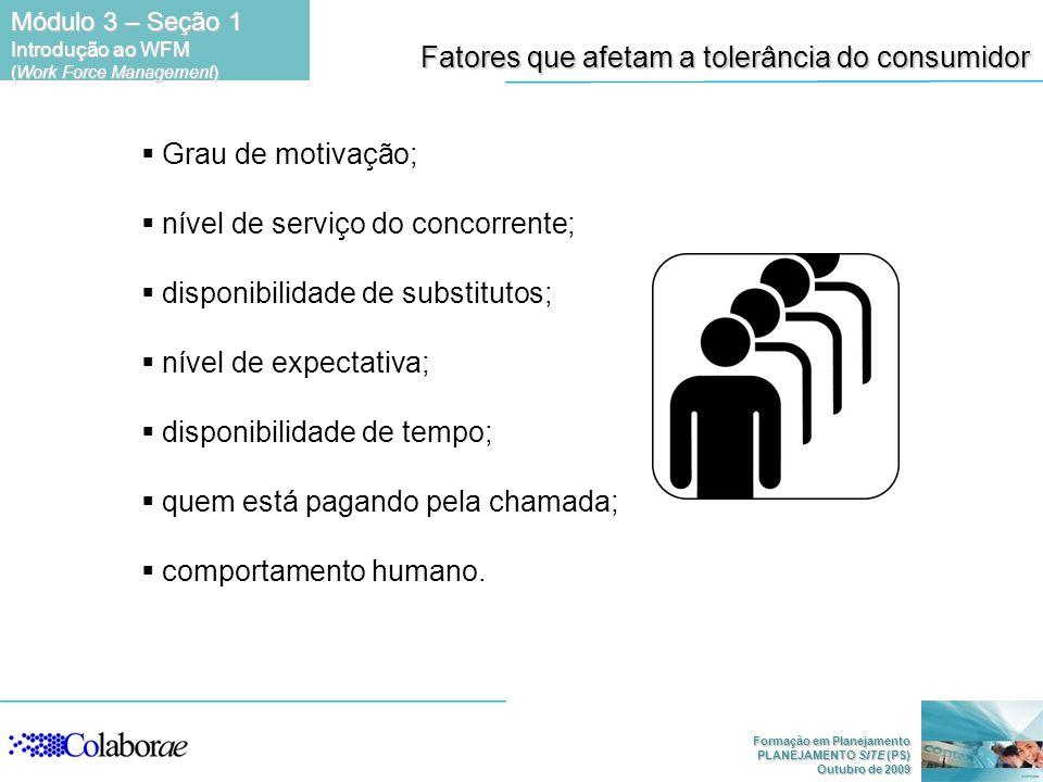 Formação em Planejamento PLANEJAMENTO SITE (PS) Outubro de 2009 Fatores que afetam a tolerância do consumidor Grau de motivação; nível de serviço do c