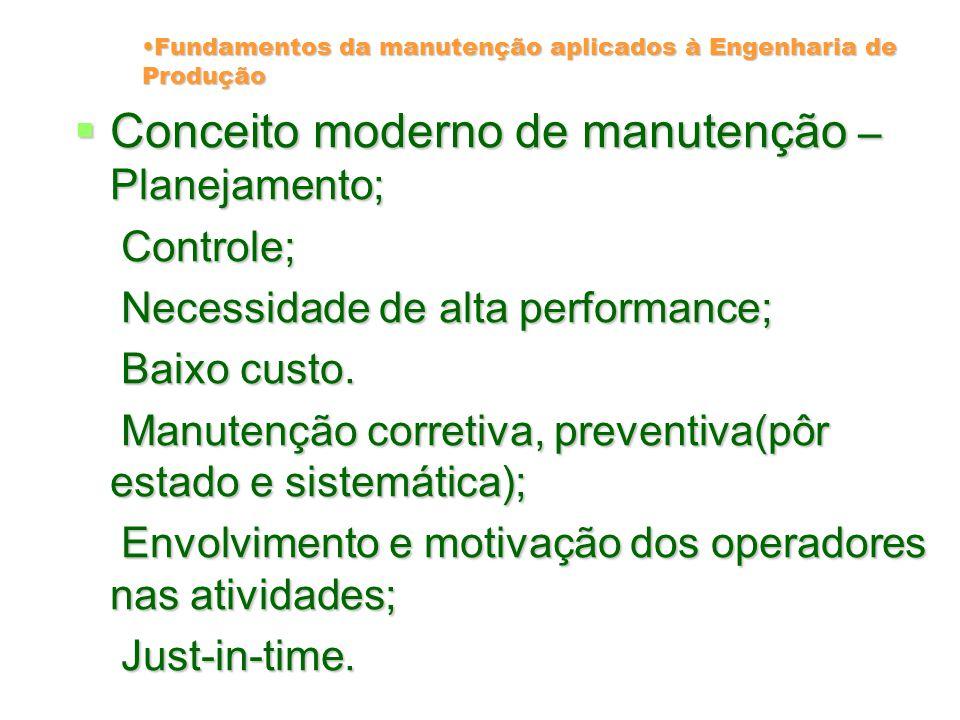 Fundamentos da manutenção aplicados à Engenharia de Produção Manutenção moderna – Manutenção moderna – A interação das fases de implantação de um sistema(projeto, fabricação, instalação e manutenção).