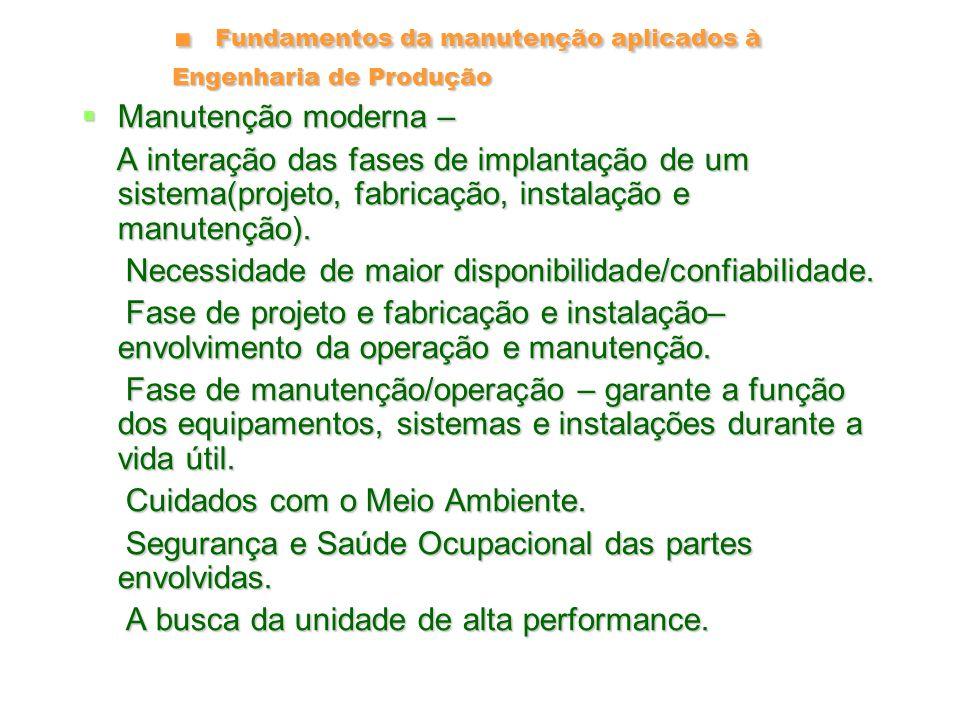 Fundamentos da manutenção aplicados à Engenharia de Produção Unidade de Alta Performance Unidade de Alta Performance Alta confiabilidade (baixas taxas de falhas); Alta confiabilidade (baixas taxas de falhas); Alta mantenabilidade, Alta mantenabilidade, Baixo custo de manutenção, Baixo custo de manutenção, Automatização e controle avançado, Automatização e controle avançado, Ecologicamente equacionadas; Ecologicamente equacionadas; Intrinsecamente seguras; Intrinsecamente seguras; Atende à qualidade dos produtos; Atende à qualidade dos produtos; Flexibilidade operacional; Flexibilidade operacional; Baixo consumo de insumos tais como energia, água, etc.