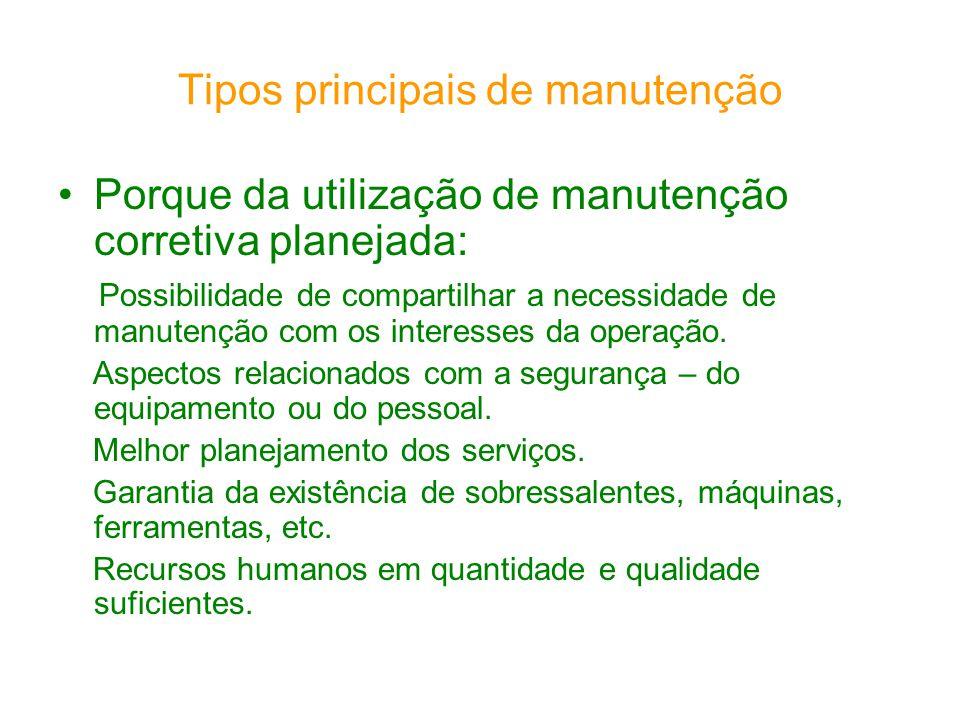 Tipos principais de manutenção Porque da utilização de manutenção corretiva planejada: Possibilidade de compartilhar a necessidade de manutenção com o