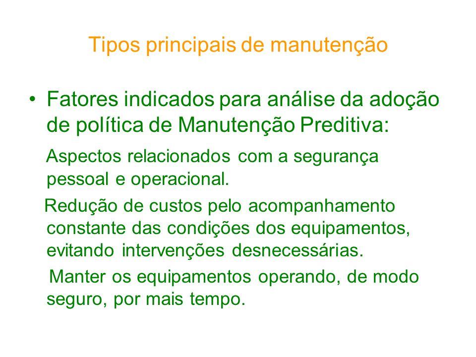 Tipos principais de manutenção Fatores indicados para análise da adoção de política de Manutenção Preditiva: Aspectos relacionados com a segurança pes