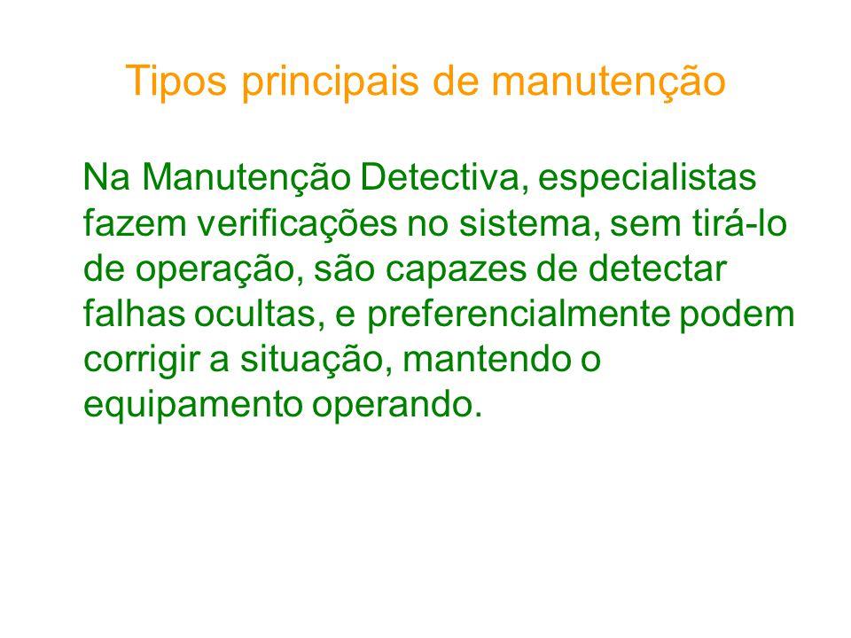 Tipos principais de manutenção Na Manutenção Detectiva, especialistas fazem verificações no sistema, sem tirá-lo de operação, são capazes de detectar