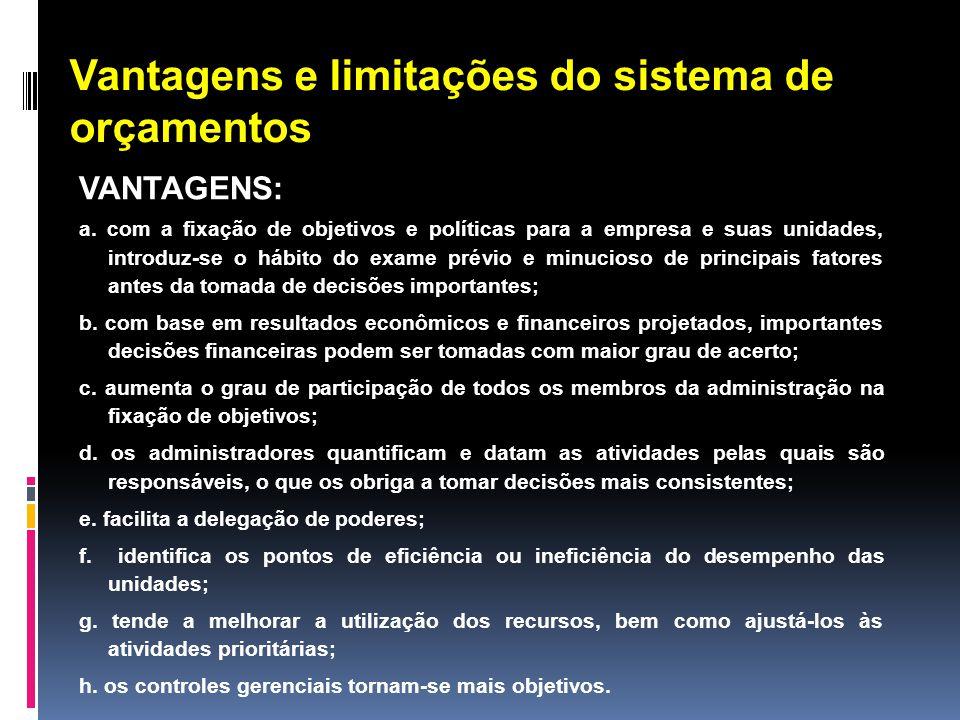 Vantagens e limitações do sistema de orçamentos VANTAGENS: a. com a fixação de objetivos e políticas para a empresa e suas unidades, introduz-se o háb