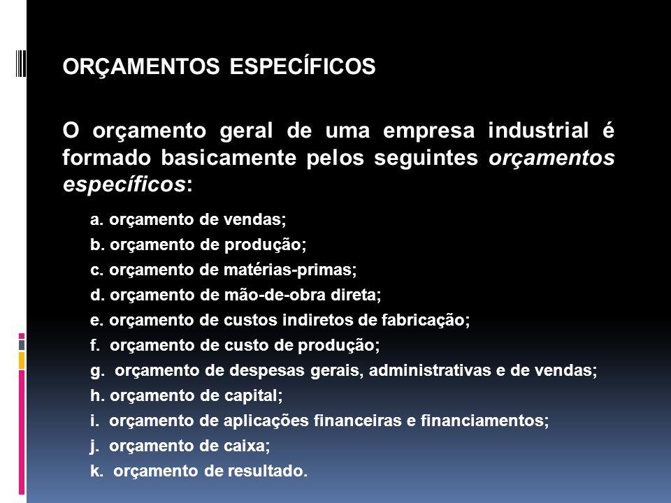 a. orçamento de vendas; b. orçamento de produção; c. orçamento de matérias-primas; d. orçamento de mão-de-obra direta; e. orçamento de custos indireto
