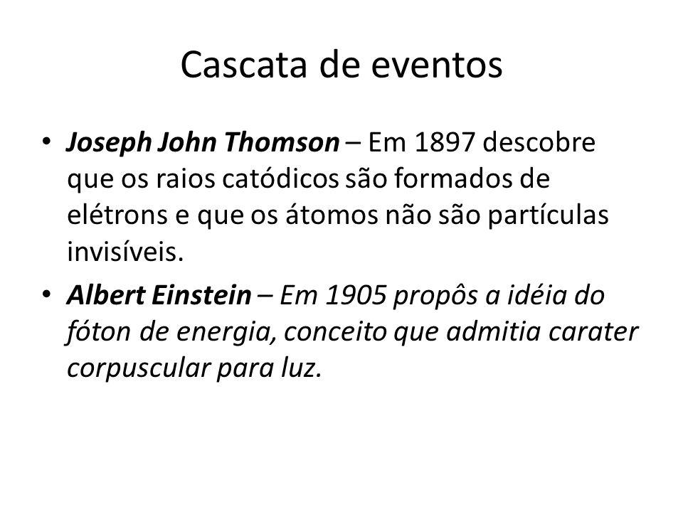 Cascata de eventos Joseph John Thomson – Em 1897 descobre que os raios catódicos são formados de elétrons e que os átomos não são partículas invisívei