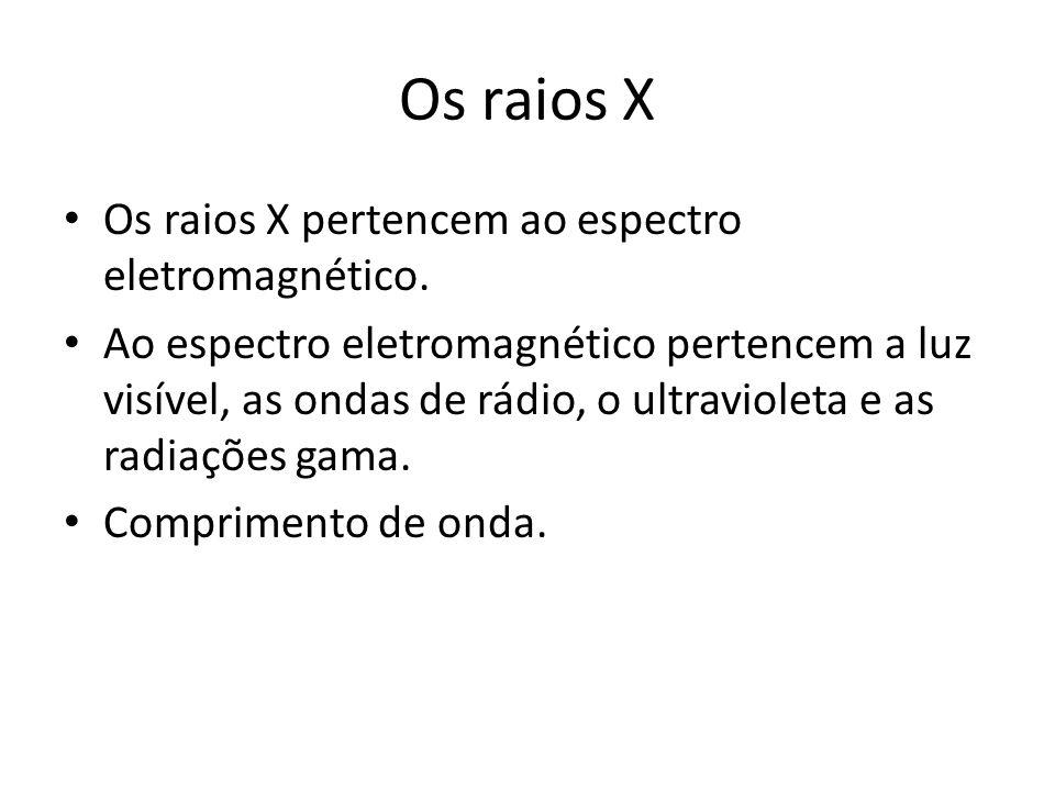 Os raios X Os raios X pertencem ao espectro eletromagnético. Ao espectro eletromagnético pertencem a luz visível, as ondas de rádio, o ultravioleta e