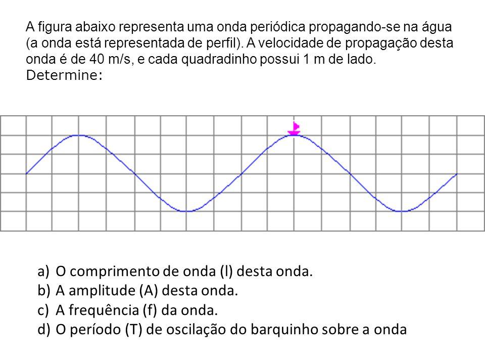 A figura abaixo representa uma onda periódica propagando-se na água (a onda está representada de perfil). A velocidade de propagação desta onda é de 4