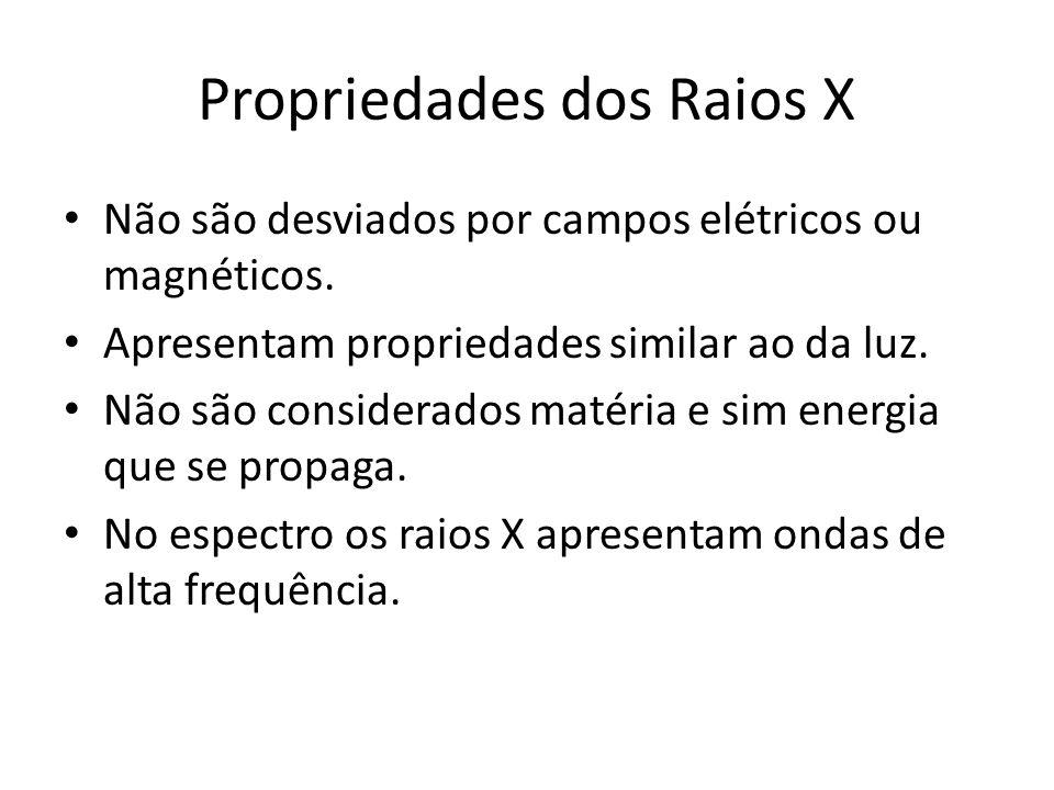 Propriedades dos Raios X Não são desviados por campos elétricos ou magnéticos. Apresentam propriedades similar ao da luz. Não são considerados matéria