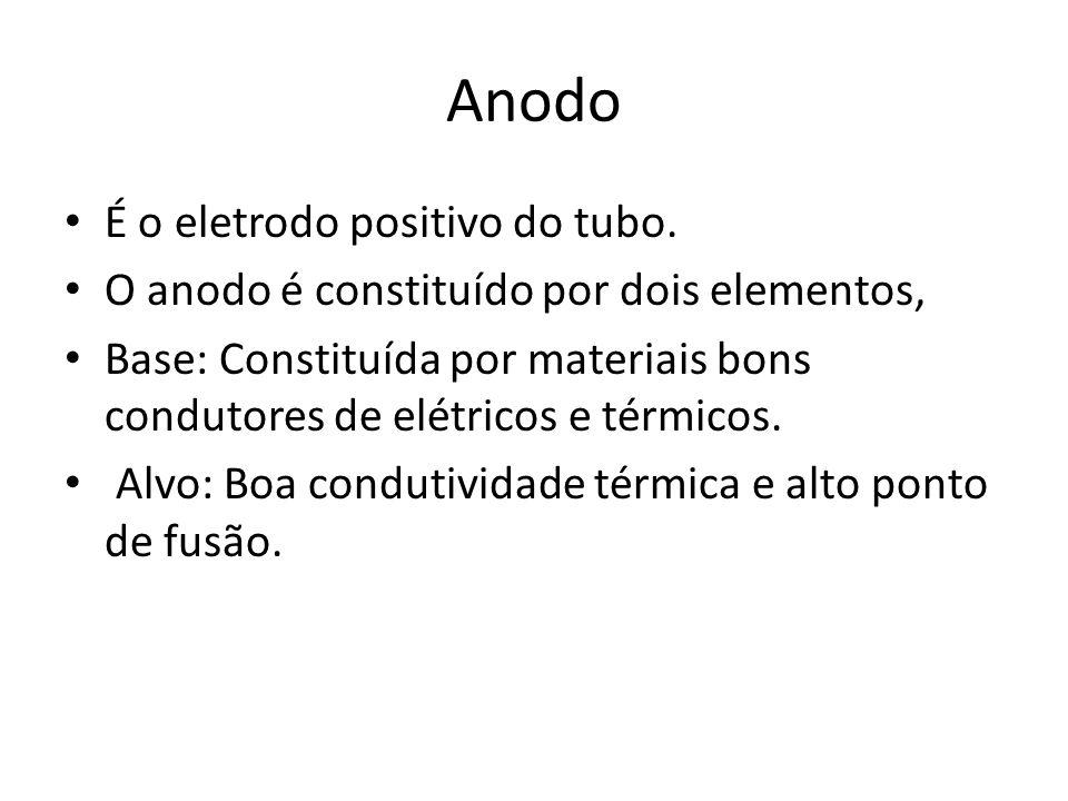 Anodo É o eletrodo positivo do tubo. O anodo é constituído por dois elementos, Base: Constituída por materiais bons condutores de elétricos e térmicos