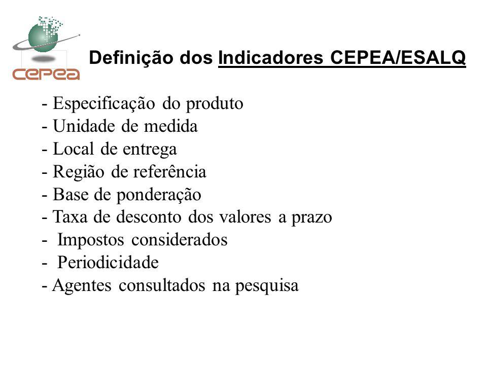 Definição dos Indicadores CEPEA/ESALQ - Especificação do produto - Unidade de medida - Local de entrega - Região de referência - Base de ponderação -