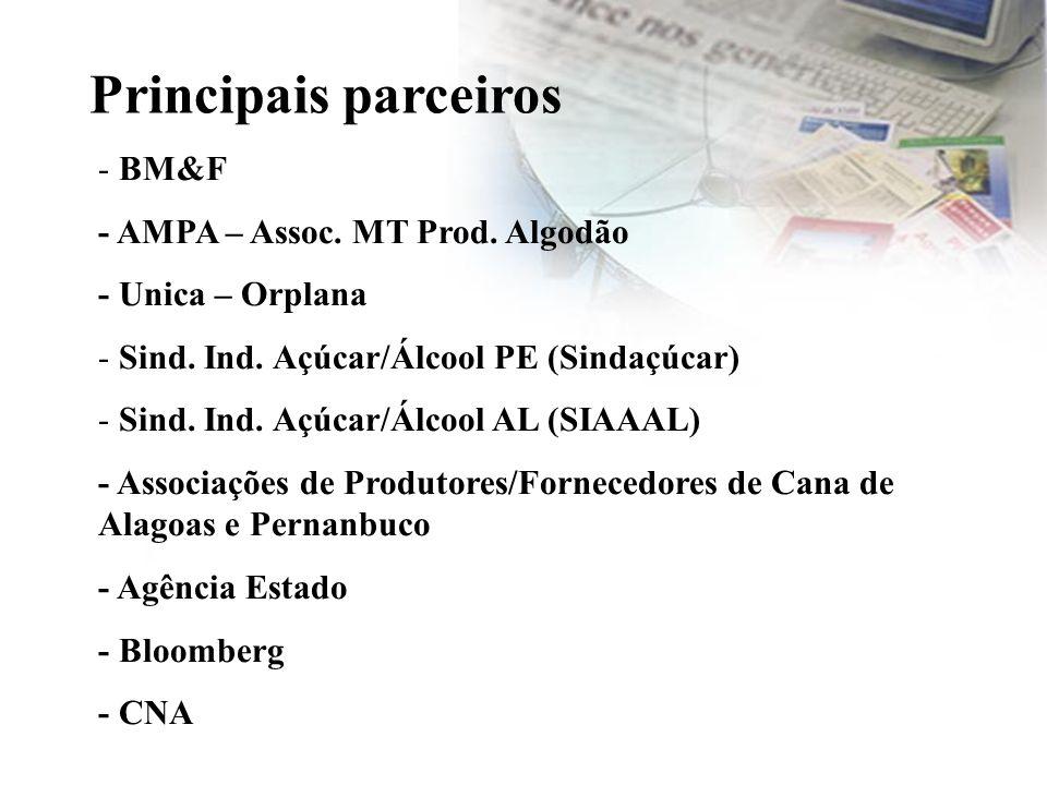 - BM&F - AMPA – Assoc. MT Prod. Algodão - Unica – Orplana - Sind. Ind. Açúcar/Álcool PE (Sindaçúcar) - Sind. Ind. Açúcar/Álcool AL (SIAAAL) - Associaç