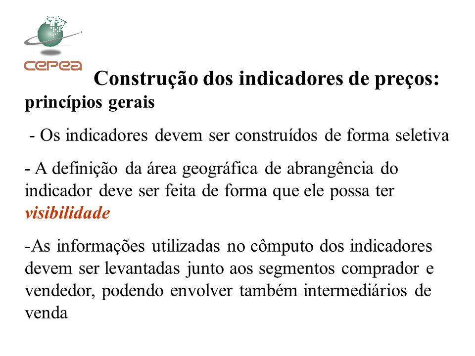 Construção dos indicadores de preços: princípios gerais - Os indicadores devem ser construídos de forma seletiva - A definição da área geográfica de a