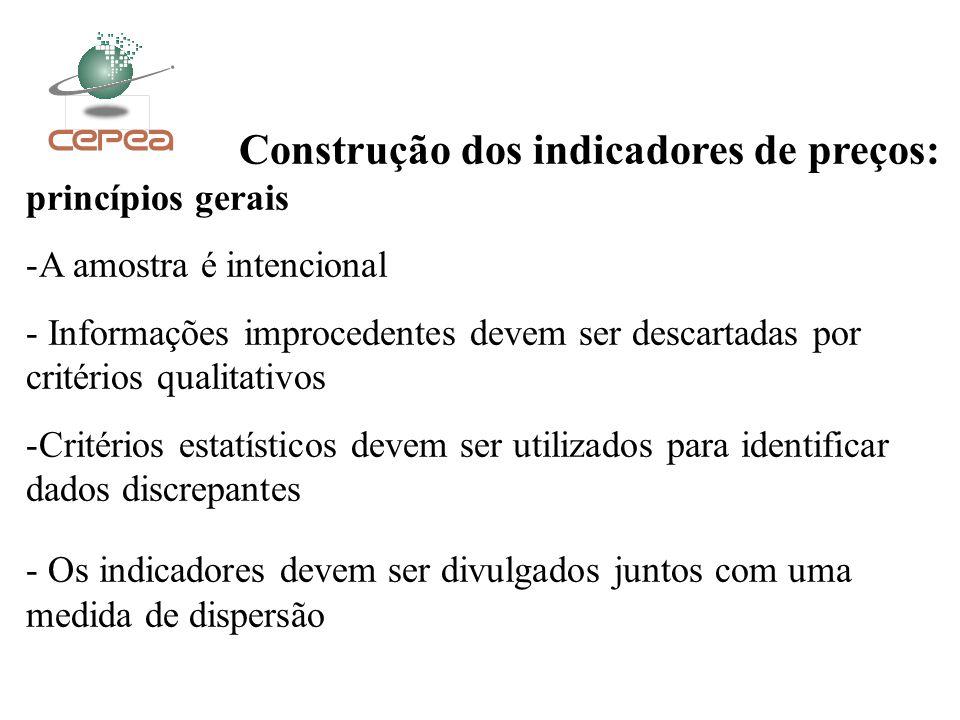 Construção dos indicadores de preços: princípios gerais -A amostra é intencional - Informações improcedentes devem ser descartadas por critérios quali