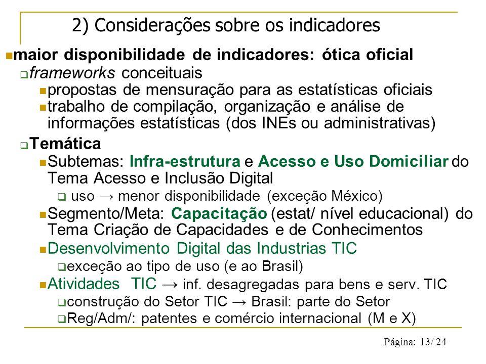 Página: 13/ 24 2) Considerações sobre os indicadores maior disponibilidade de indicadores: ótica oficial frameworks conceituais propostas de mensuração para as estatísticas oficiais trabalho de compilação, organização e análise de informações estatísticas (dos INEs ou administrativas) Temática Subtemas: Infra-estrutura e Acesso e Uso Domiciliar do Tema Acesso e Inclusão Digital uso menor disponibilidade (exceção México) Segmento/Meta: Capacitação (estat/ nível educacional) do Tema Criação de Capacidades e de Conhecimentos Desenvolvimento Digital das Industrias TIC exceção ao tipo de uso (e ao Brasil) Atividades TIC inf.
