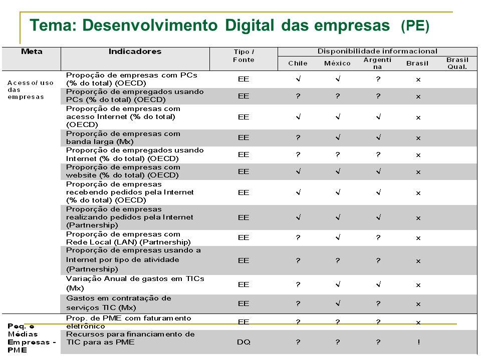 Página: 17/ 24 Tema: Desenvolvimento Digital das empresas (PE)