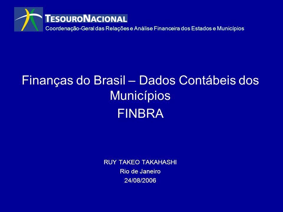 Coordenação-Geral das Relações e Análise Financeira dos Estados e Municípios Finanças do Brasil – Dados Contábeis dos Municípios FINBRA RUY TAKEO TAKA