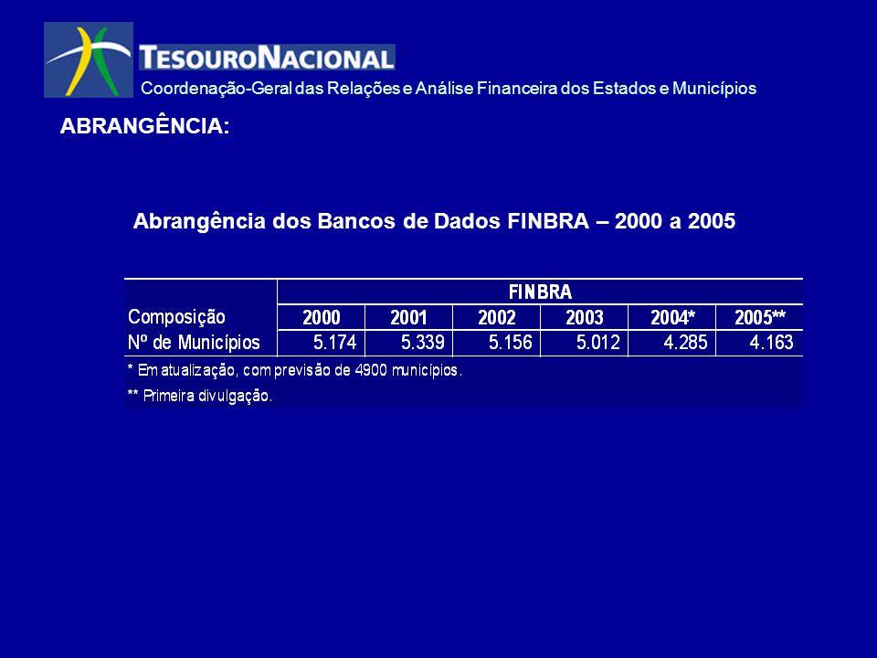 Coordenação-Geral das Relações e Análise Financeira dos Estados e Municípios ABRANGÊNCIA: Abrangência dos Bancos de Dados FINBRA – 2000 a 2005