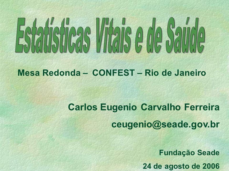 Mesa Redonda – CONFEST – Rio de Janeiro Carlos Eugenio Carvalho Ferreira ceugenio@seade.gov.br Fundação Seade 24 de agosto de 2006