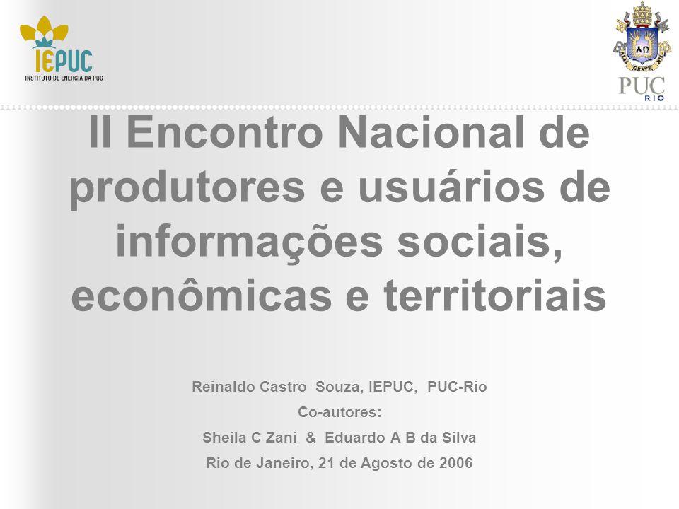 II Encontro Nacional de produtores e usuários de informações sociais, econômicas e territoriais Reinaldo Castro Souza, IEPUC, PUC-Rio Co-autores: Shei
