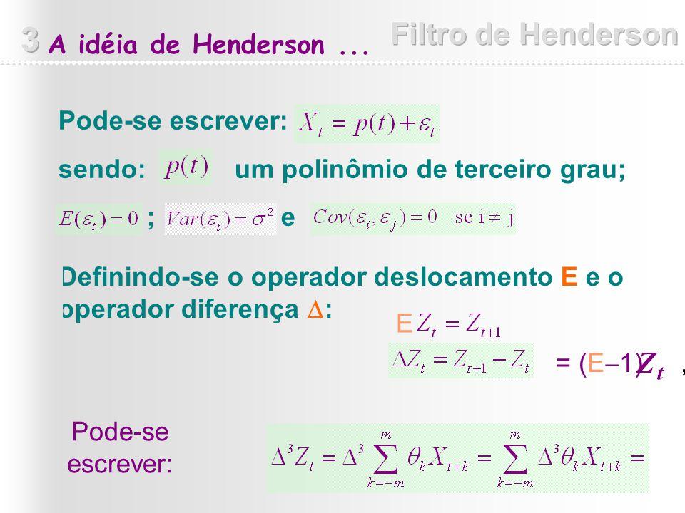 Definindo-se o operador deslocamento E e o operador diferença : Pode-se escrever: sendo: um polinômio de terceiro grau; ; e A idéia de Henderson... =
