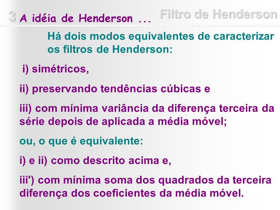 Há dois modos equivalentes de caracterizar os filtros de Henderson: i) simétricos, ii) preservando tendências cúbicas e iii) com mínima variância da d