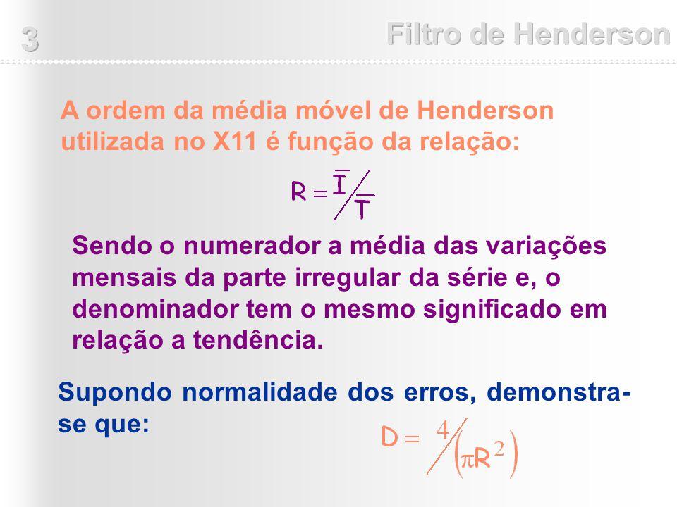 A ordem da média móvel de Henderson utilizada no X11 é função da relação: Sendo o numerador a média das variações mensais da parte irregular da série