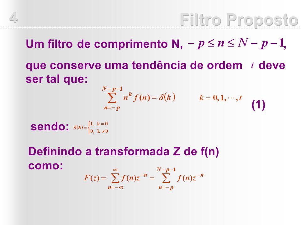 Um filtro de comprimento N,, que conserve uma tendência de ordem deve ser tal que: Definindo a transformada Z de f(n) como: sendo: (1)