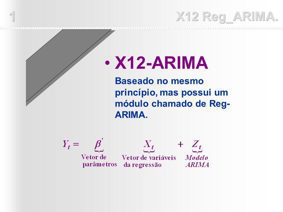 X12-ARIMA Baseado no mesmo princípio, mas possui um módulo chamado de Reg- ARIMA.