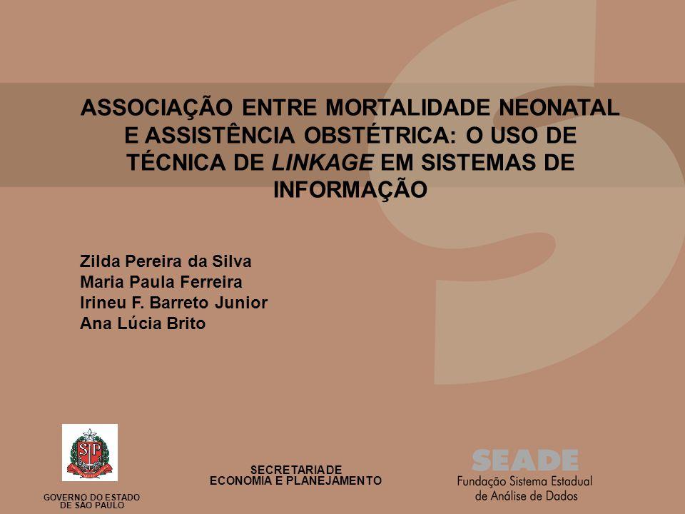Título da Apresentação Subtitulo, se houver ASSOCIAÇÃO ENTRE MORTALIDADE NEONATAL E ASSISTÊNCIA OBSTÉTRICA: O USO DE TÉCNICA DE LINKAGE EM SISTEMAS DE INFORMAÇÃO Zilda Pereira da Silva Maria Paula Ferreira Irineu F.