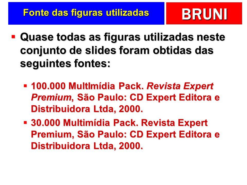 BRUNI Fonte das figuras utilizadas Quase todas as figuras utilizadas neste conjunto de slides foram obtidas das seguintes fontes: Quase todas as figur