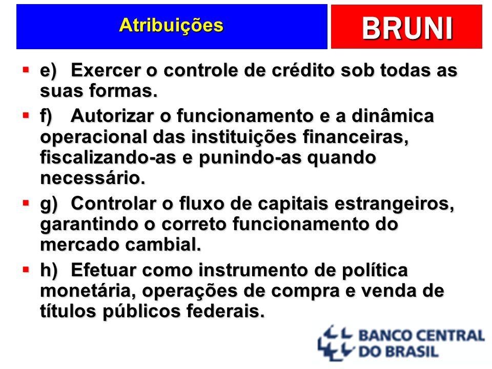 BRUNI Atribuições e)Exercer o controle de crédito sob todas as suas formas. e)Exercer o controle de crédito sob todas as suas formas. f)Autorizar o fu