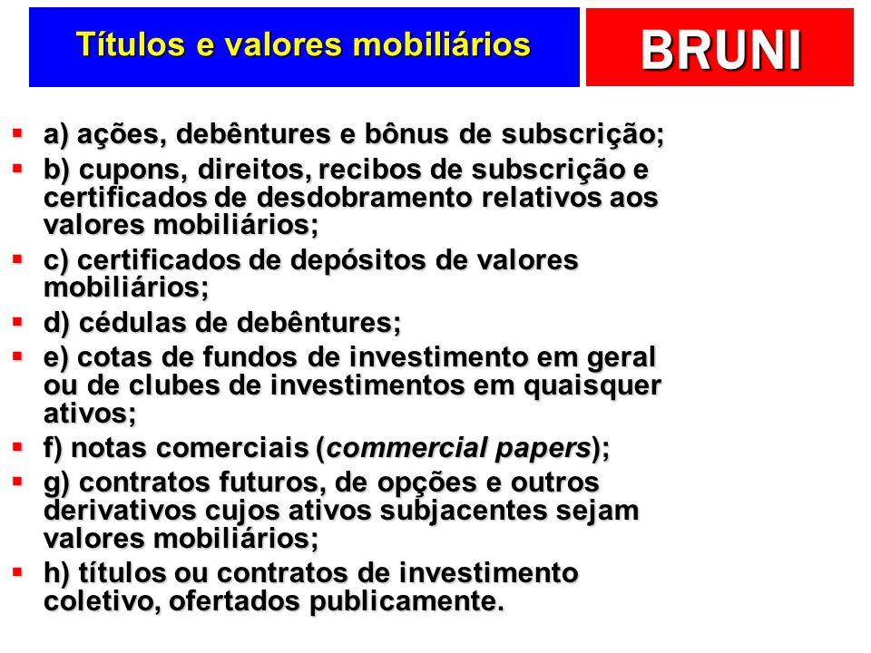 BRUNI Títulos e valores mobiliários a) ações, debêntures e bônus de subscrição; a) ações, debêntures e bônus de subscrição; b) cupons, direitos, recib