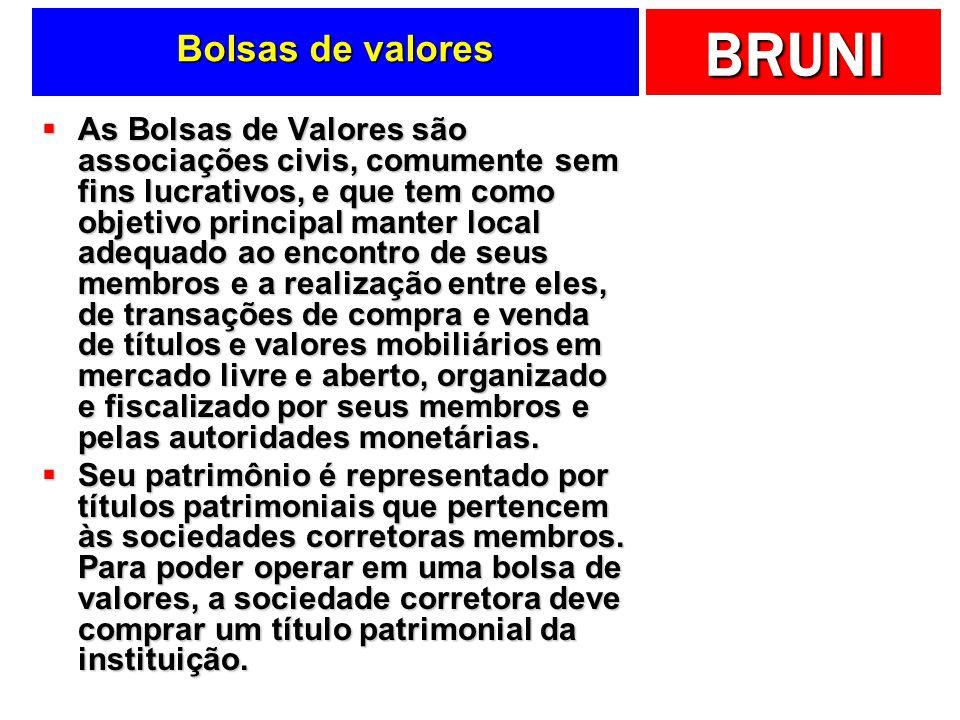 BRUNI Bolsas de valores As Bolsas de Valores são associações civis, comumente sem fins lucrativos, e que tem como objetivo principal manter local adeq