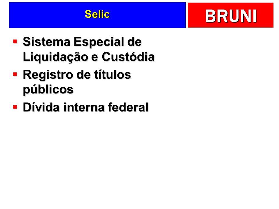 BRUNI Selic Sistema Especial de Liquidação e Custódia Sistema Especial de Liquidação e Custódia Registro de títulos públicos Registro de títulos públi