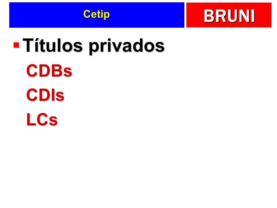 BRUNI Cetip Títulos privados Títulos privadosCDBsCDIsLCs