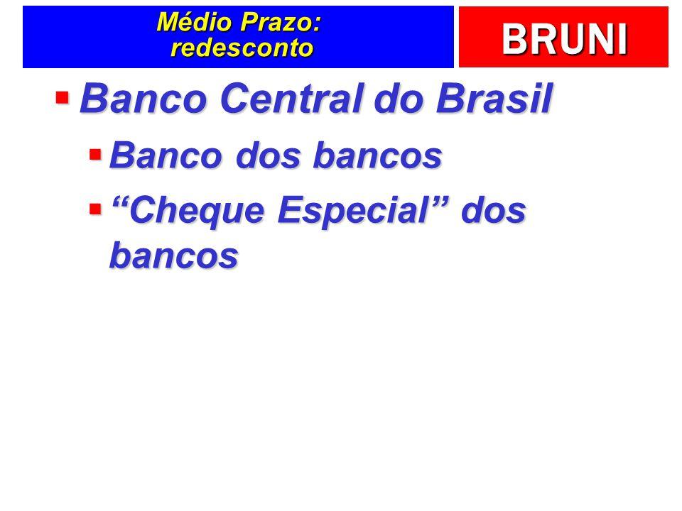 BRUNI Médio Prazo: redesconto Banco Central do Brasil Banco Central do Brasil Banco dos bancos Banco dos bancos Cheque Especial dos bancos Cheque Espe