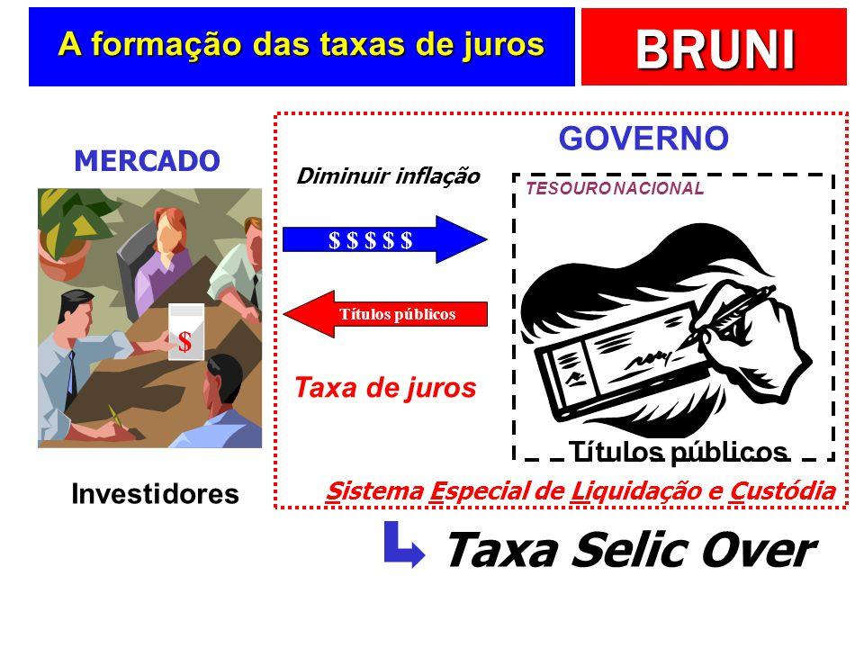 BRUNI A formação das taxas de juros Taxa de juros Investidores MERCADO $ Títulos públicos GOVERNO TESOURO NACIONAL Diminuir inflação $ $ $ $ $ Títulos