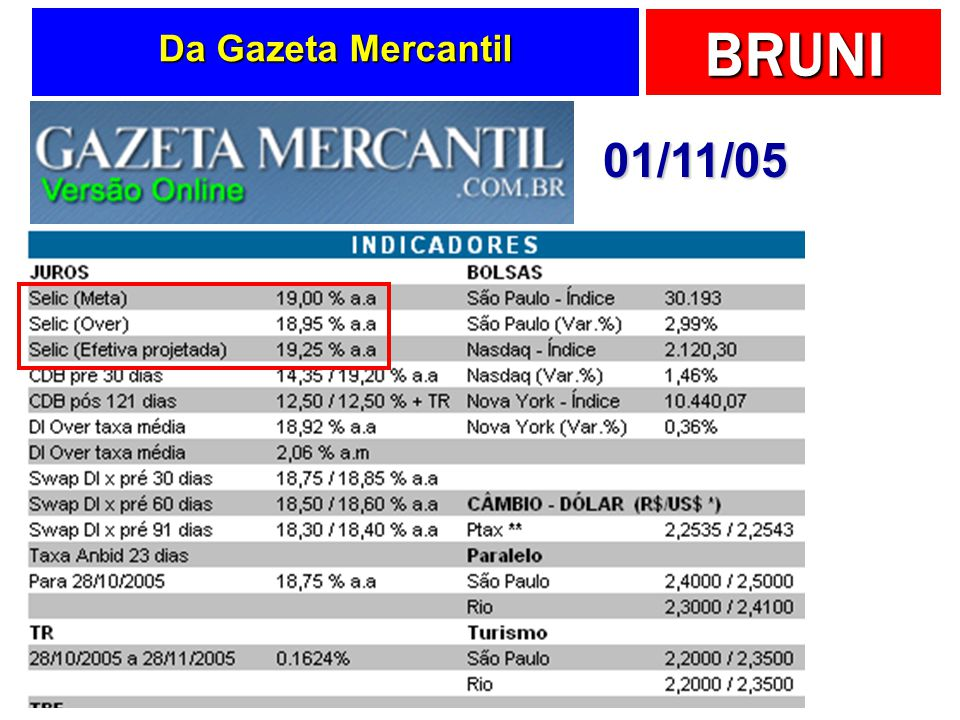 BRUNI Da Gazeta Mercantil 01/11/05